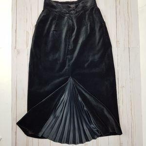 Vintage Velvet Pencil Skirt Satin Vent Sz XS